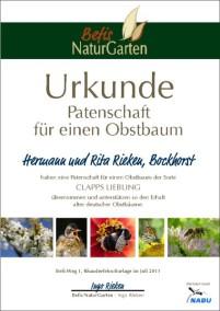 Obstbaum-Patenschafsurkunde - Befis NaturGarten